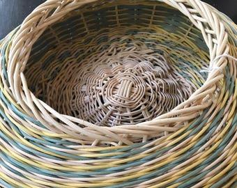Asymmetrical Weaved Basket / Blue and Yellow Basket / Boho Basket