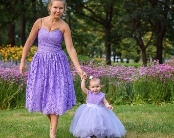Outfits Mother Daughter Dresses, Mommy and Me Dress Matching, Mother Daughter Matching Outfit Matching Dress, Matching Dresses Lace Lavanda