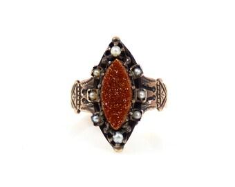 10K Goldstone & Seed Pearl Ring - 4750