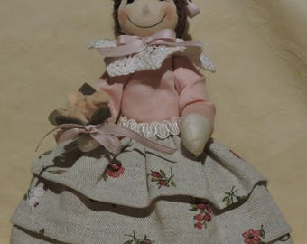 Ketty, handmade cloth doll with flowers and hair bun, collectible doll.