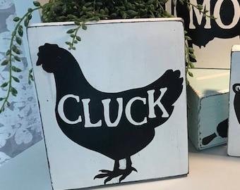 Cute Kitchen Chicken Sign/Chicken Decor/Cluck