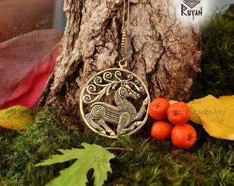 Stag Pendant. Scythian Deer. Scythian Stag. Scythians pendant Animal totem Guardian totem Spirit Keeper Deer Pendant