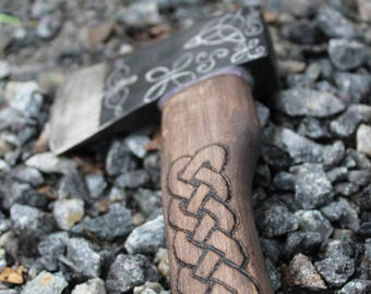 Handmade celtic axe with knots