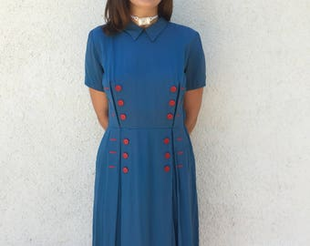 1940's Blue Dress with Red Button Details