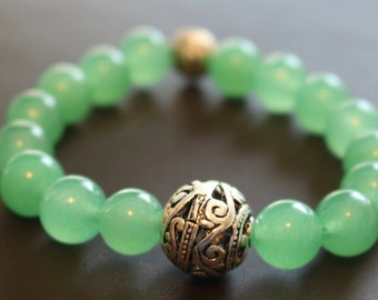 Green Glass Beaded Bracelet with Silver Bead Father's Day