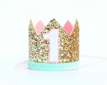 First Birthday Outfit Girl  | Girl Birthday Crown | Birthday Girl Outfit | Girl Party Hat | First Birthday Photo Prop | Cake Smash