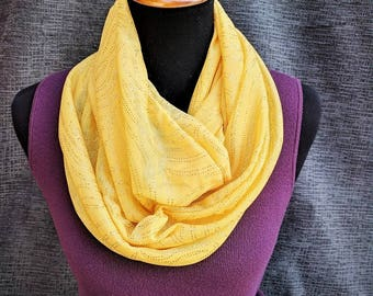 Yellow Infinity Scarf, Circle Scarf, Yellow Scarf, Fashion Scarf, Infinity Scarf, Dressy Scarf, Unique Scarf, Mothers Day, Sparkly Scarf