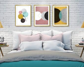 Set of 3 Prints, Bedroom wall art, Set 3, Wall art, Printable art, Abstract art, Print Set, Wall art prints, Abstract geometric print sets