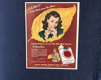 Lucky Strike Ad, L.S./M.F.T. Lucky Strike Means Fine Tobacco
