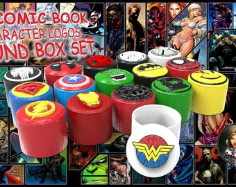 16 Comic Book Character Logos Round Box Set - *INSTANT DIGITAL DOWNLOAD*