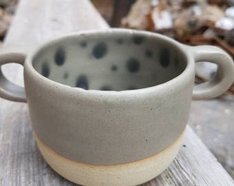 Double handle green khaki cup with black dots