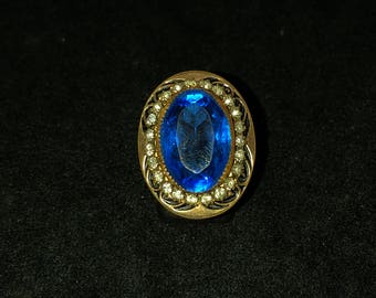 Vintage Gold Filled Blue Glass and Rhinestone Ring