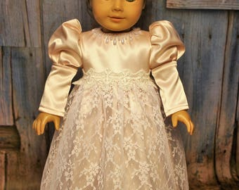 Victorian Shiny Pink Blush Dress for American Girl doll and other 18 inch dolls