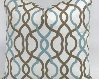 Pillow Cover- Geometric Design- Modern Pillow -Aqua and Brown Design - Pale Cream Background - Fully Lined - Invisible Zipper