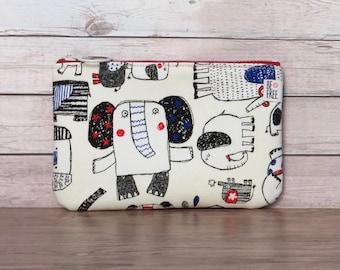 Elephants Coin Purse, Handmade Japanese Fabric Zippered Pouch, Zipper Kids Wallet, Change Bag, Earbuds Case, Small Makeup Bag Elephant Lover