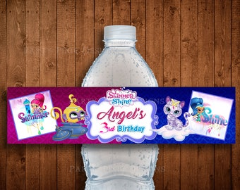 SHIMMER AND SHINE Digital Personalized Labels - Shimmer & Shine Birthday Party Water Bottle Labels - Shimmer and Shine Digital Wrap Stickers