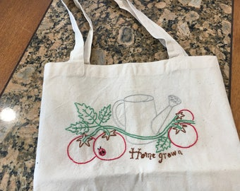 Reusable hand embroidered cotton market bag