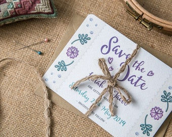 Floral Embroidery Save the Date Invitation Cards ~ SAMPLE