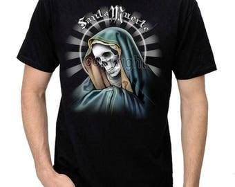 Men's La Santa Muerte Saint Death Gothic Graphic T-Shirt