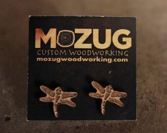 Dragonfly earrings - lasercut - wooden - maple