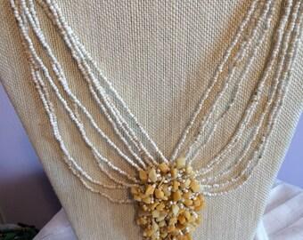 Unique White Glass Beaded Choker/Necklace