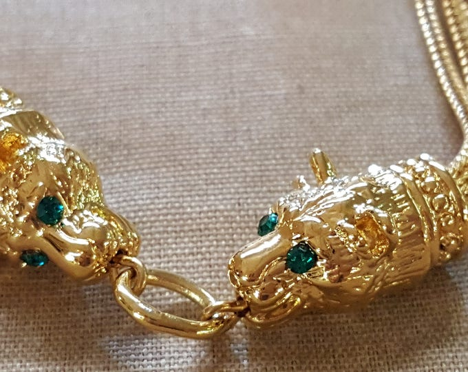 Camrose and Kross Necklace Long Lions Heads Chain Sautoir Jacqueline Barovier Kennedy JBK