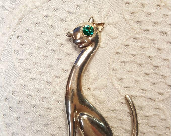 Vintage Horacio de la Parra Sterling Cat Brooch Pin Emerald Green Eye Whimsy Mexico