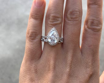 New 2.20ct Pear Diamond Halo Engagement Ring, 14k White Gold, 2.54ctw