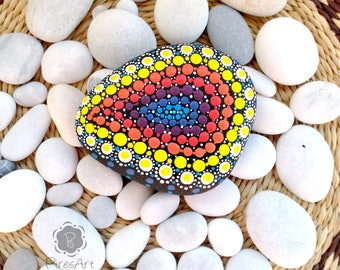 Hand painted stone, painted dots stone, painted colorful stone, sea painted rock, art paperweight, art decor home, Valentine's Day gift