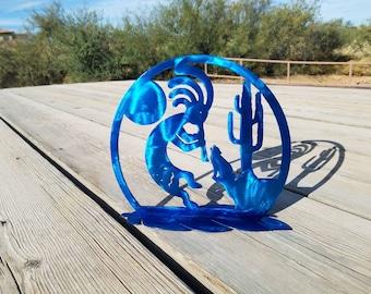 Native American Blue Kokopelli Metal Decor.  Feather, Coyote, Moon Sculpture.