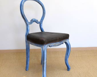 Shabby Chic Chair, Vintage Desk Chair, Victorian Chair, Antique Dining Chair, Up-cycled Furniture, Painted Furniture, Blue Chair