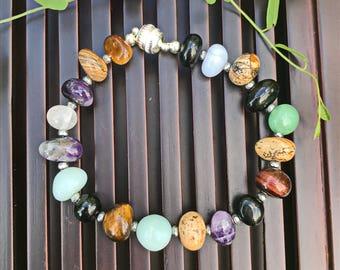 Multi Gemstone Yoga Mala Beaded Bracelet. Healing Natural Gemstone Bracelet. Wrist Mala. Protection Bracelet. Lucky Bracelet.