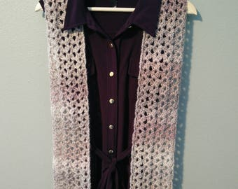 Island Lace Crochet Scarf - Pearly