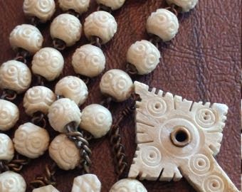 Vintage Carved Stanhope Rosary, Hand-Carved Ox/Bovine Beads, French Catholic Rosary With Heart Connector, Incomplete Peephole Viewer