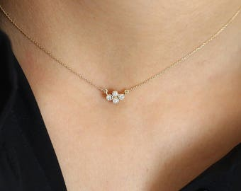 Dainty Gold Diamond Necklace/ 14K Solid Gold Four Stone Diamond Cluster Necklace with Thin Gold Chain/ Graduation Gift
