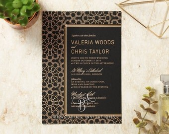 Moroccan-Inspired Wedding Invitation, Luxe Foil Stamping 116083