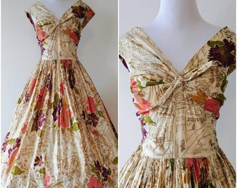Vintage 1950's Fit and Flare Tropical Print Dress | 1950's Summer Dress | 1950's Dress |