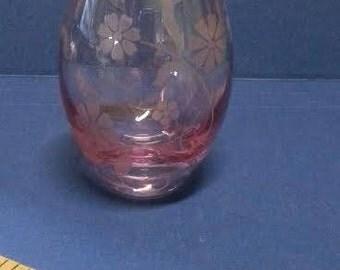 Vintage Pink Glass Vase with Frosted Floral Design