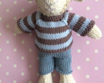 Hand knitted boy lamb
