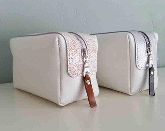 leather cosmetic bag, cosmetic bag, makeup bag, leather, white makeup organiser, ladies, gift for women
