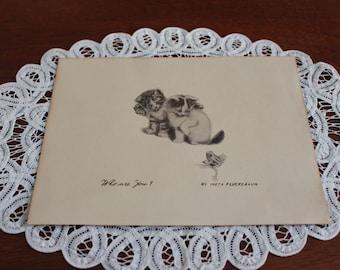 Vintage kittens art print/Cute kittens/Meta Pluckebaum