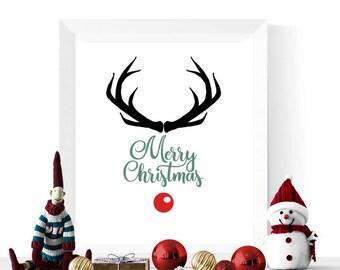 Merry Christmas Printable | Reindeer Christmas Printable |  Modern Decorations | Wall Art | Christmas Art Prints | Reindeer Print