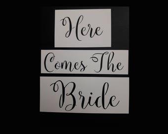 Here Comes The Bride Calligraphy Font 3-Piece Reusable Stencil - Includes Foam Stencil Brush