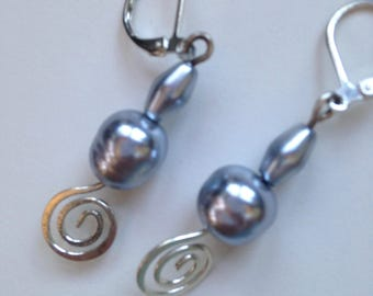 Silver pearl and silver Earrings