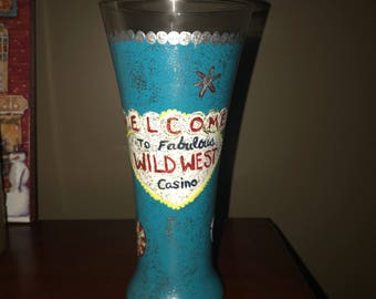 Hand painted Casino Themed beer glass