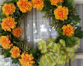 Marigold Wreath,  Faux artificial, Summer Spring and Fall Door Decoration