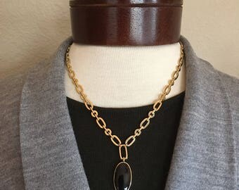 Vintage Black Lucite Pendant Gold Tone Chain Necklace Signed FI