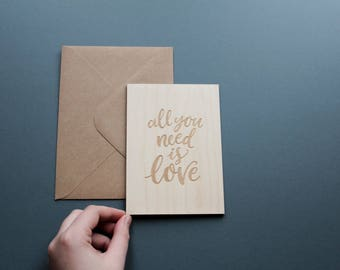 All You Need Is Love Wooden Card, Love Card, I Love You Card, Card for Wife, Card for Boyfriend, Card for Girlfriend, Gift For Her