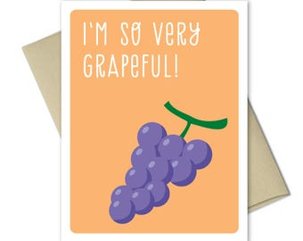 Thank you Cards - Greeting Cards - Thank you notes - Punny Cards - Food cards - Thank you card set - Very Grapeful
