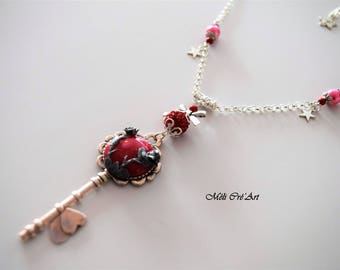 Silver key rose Ruby Red cabochon stone Flower necklace